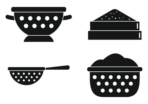 Sieve icons set. Simple set of sieve vector icons for web design on white background