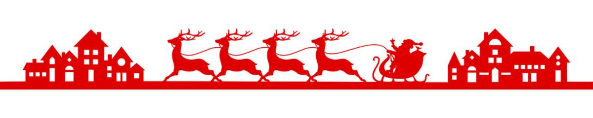 Wall Mural - Banner Roter Fahrender Weihnachtsschlitten In Der Stadt