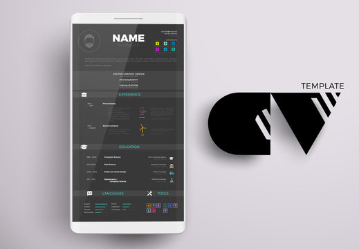 Modern online CV example design, resume vector template minimalistic creative style on a smartphone screen