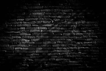Spoed Foto op Canvas Baksteen muur Black brick walls background and texture. The texture of the brick is black. Background of empty brick basement wall. black wall.
