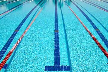 Fototapete - Olympic Swimming pool background on a bright Sunny day