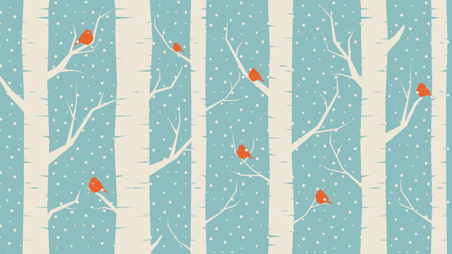 Blue Background: winter forest, birds and snowfall