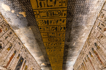 Kings Valley in Luxor, Upper Egypt in the early morning. Interior views of graves, wall paintings with ancient Egyptian hieroglyphs, burial chambers, underground corridors. Tombs of Rameses II, Thutme