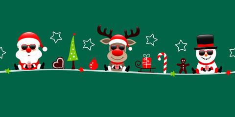 Wall Mural - Banner Weihnachtsmann Rentier Und Schneemann Sonnenbrille Icons Grün