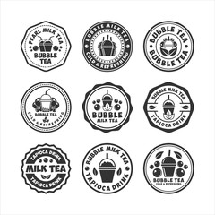 Printed roller blinds Retro Bubble Tea Badge Stamps Collections