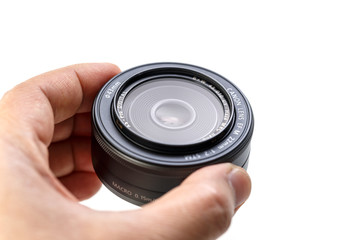 BANGKOK, THAILAND - FEBRUARY 5, 2017_CANON LENS EF-M 22mm f/2 STM, announced by Canon in 2012. It is a lightweight pancake lens with compactness for EOS M, sliding effortlessly into most pockets.