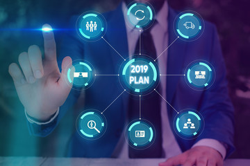 Text sign showing 2019 Plan. Business photo text setting up your goals and plans for the current year or in 2019 Picture photo system network scheme modern technology smart device