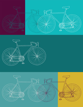 Hand drawn bicycle invitation/thank you/event vector 8,5 x 11 in bicycle card template in yellow, blue and purple colors palette