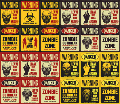 Zombie attention beware and caution sign set. Corpse danger emblem. Vector illustration.