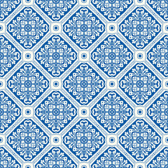 Portuguese Vector Tile Azulejo Pattern. Seamless Lisbon Blue on White Mosaic Square Background. Traditional Floral Ceramic Mediterranean Style Design. All Over Print in Repeat EPS10