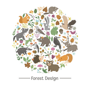 Vector round frame with animals and forest elements on black background. Natural themed banner framed in circle. Cute funny woodland card template..