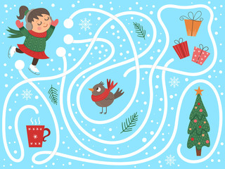Winter maze for children. Preschool Christmas activity. New Year puzzle game with skating girl, presents, bird, mug. Help the girl get to the Christmas tree..