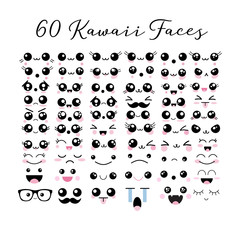 Big set of 60 kawaii cute faces emoticons icons emoji vector illustrations.