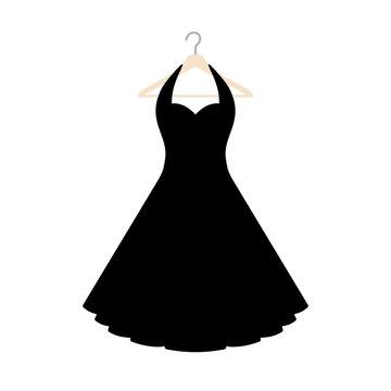 Vector illustration of an isolated vintage style halterneck dress on a coat hanger.