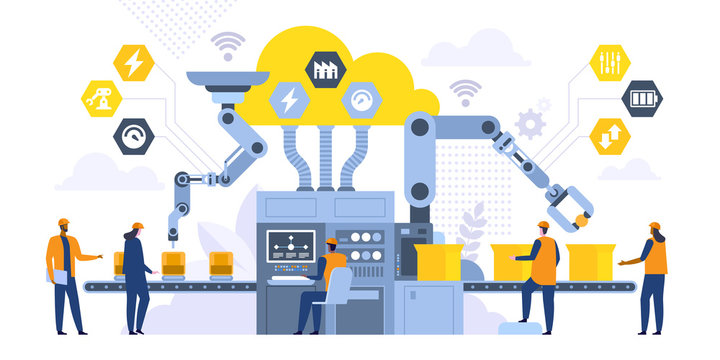 Assembly line with robotic arms flat illustration