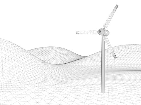Wind turbine sustainable technology; original 3d rendering