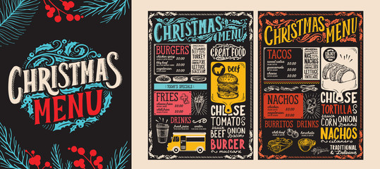 Christmas and New Year food menu template for restaurant. Vector illustration for holiday dinner celebration with hand-drawn lettering.