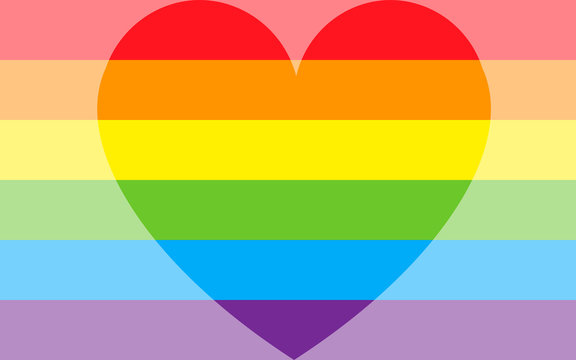 Vector Illustration lgbt gay pride flag with a heart. Homosexual love concept. Heart with six rainbow stripes. Gay pride flag and LGBT pride flag. Homosexual love emblem.