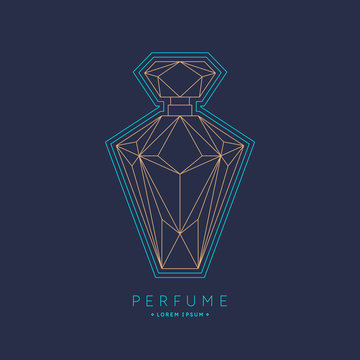 Bottle of perfume. Linear image perfume to monogram.