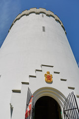 Old white water tower on rampart in city Fredericia, Denmark