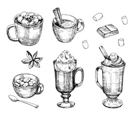 Hot chocolate drink. Outline. Hand drawn illustration converted to vector. Isolated on white background