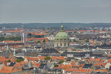Skyline of scandinavian city of Copenhagen in Denmark during a cloudy day