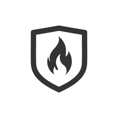 Shield with fire sign.  Vector fire shield. Vector shield icon. Protection icon. Shield vector icon.