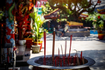 Burning aromatic incense sticks. Incense for praying Buddha or Hindu gods to show respect