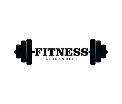 Gym fitness with barbell logo icon vector template