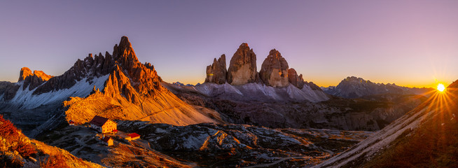 Autocollant pour porte Marron Tre Cime di Lavaredo at Sunset