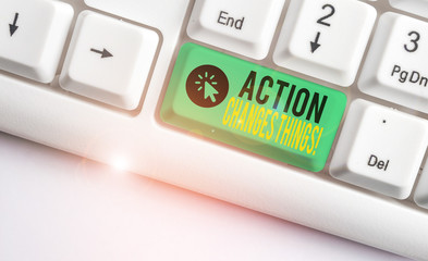 Word writing text Action Changes Things. Business photo showcasing start doing something against problem resolve or achieve it White pc keyboard with empty note paper above white background key copy