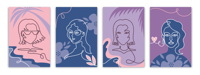 Face line posters. Trendy banners with one line woman face and abstract shapes, creative minimal social media stories. Vector illustration trendy fashion portrait set on floral background