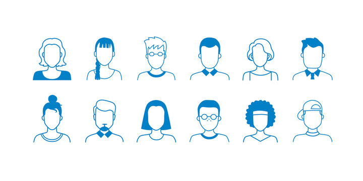Avatar line icons. Hand drawn interface user symbols, doodle people of different ages, teens adult and old. Vector cartoon linear portraits with face shapes for person profile social network