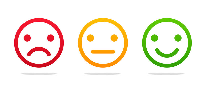Emoticon face. Good and bad icons for measuring customer satisfaction
