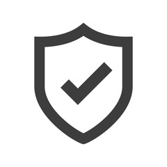 Shield icon. Shield with a checkmark in the middle Protection icon concept