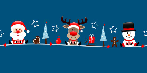 Wall Mural - Banner Weihnachtsmann Rentier Und Schneemann Icons Dunkelblau