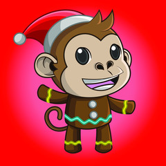 Illustration of cute cartoon monkey wearing a Christmas costume