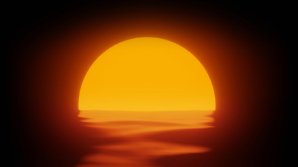 Abstract Minimal Sea Sunset 3d Render Background