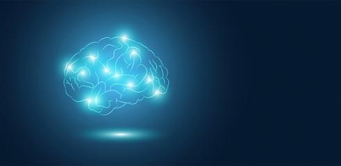 cervello, sagoma, silhouette, attività cerebrale, neuroni,