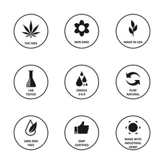 CBD oil icons set including THC free, non GMO, made in USA, lab tested, omega 3-6-9, pure natural, 100% risk free, GMP certified, made with industrial hemp. Flat vector isolated on white background.