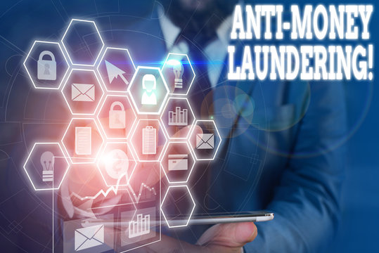 Writing note showing Anti Money Laundering. Business concept for regulations stop generating income through illegal actions Picture photo network scheme with modern smart device