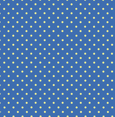 Vector pattern with yellow polka dots on blue background