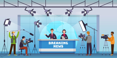 Live news. Broadcasting production studio, mass media television with presenters. Cameraman shooting crew, global news vector concept