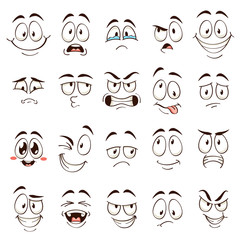 Cartoon faces. Caricature comic emotions with different expressions. Expressive eyes and mouth, funny flat vector characters set