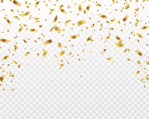 Golden confetti. Falling gold foil ribbons, flying yellow glitter. Christmas holiday and anniversary party vector isolated texture