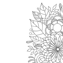 Card with a floral pattern. Coloring Book Page.