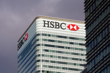 Logo or sign for HSBC in Canary Wharf
