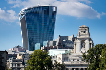 Modern office building called Walkie Talkie