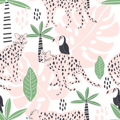 Seamless pattern with leopard, Toucan bird and tropical leaves. Vector illustration, for printing on t-shirts, postcards, pictures, fabric, tableware, packaging paper. Cute children background.