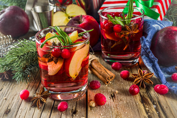 Winter hot sangria cocktail